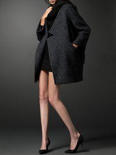Gray V Neck Pockets 3/4 Sleeve Coat - StyleWe.com