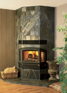 RSF Delta Fireplace - Unique stone facing on this bay window ...