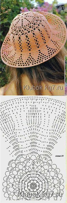 Шляпка | вязание | Постила Beautiful filet crochet hat. follow diagram and crochet according to graph.