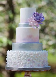 Featured Photographer: This Is Photography; Elegantly unique purple and blue wedding cake