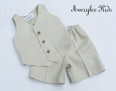 Boys Linen Suit, Linen Vest and Shorts. Easter Outfit, Wedding Ring Bearer Outfit, Baptism Outfit, Page Boy Outfit