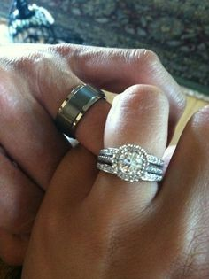 Call me old fashioned, but I think the man's ring should be gold. Love the diamond though!