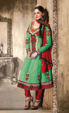 Shop Online Today Festive Georgette Green Salvar Suit With Elegant Patch Work Buy online now - http://gravity-fashion.com/15823-festive-georgette-green-salvar-suit.html