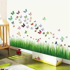 Bayswater Moon and Stars Owl Tree Wall Decal Blue Wall Stickers, 3d Butterfly Wall Stickers, Wall Decals, Butterfly Room, Light Blue Walls, Vine Wall, Gras, Vinyl, Smooth