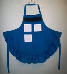 Handmade / Doctor Who Apron / Blue Police Box Full Apron w/ Ruffle / Doctor Who Themed Apron / Blue Police Call Box Apron /Sci Fi Geek Apron by CajunRabbit on Etsy https://www.etsy.com/listing/205128434/handmade-doctor-who-apron-blue-police