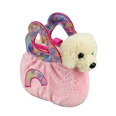 Title: Golden Retriever Dog in Pink Rainbow Handbag Fancy Pals Size: Measures 8 inch / 20cm long Price: AUS$ 22.95 Brand : Aurora  Lots more items like this available at: www.stuffedwithplushtoys.com 100 Day Returns |Fast Trackable Shipping|Google Trusted Store