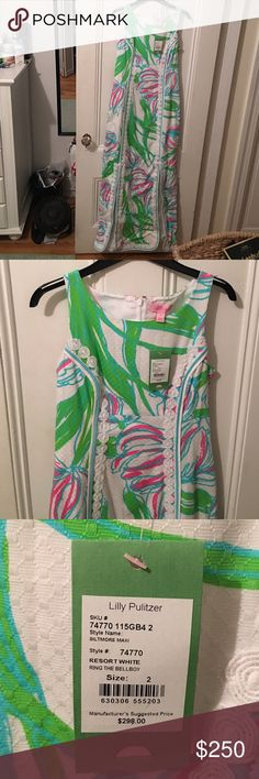 """Lilly Pulitzer Maxi Dress Never been worn!! Tags still on! Resort White Biltmore Maxi """"Ring the Bell Boy"""" Lilly Pulitzer Dresses Maxi"""
