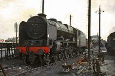 "Visit LMS Royal Scot Steam Train : No .46106 "" Gordon Highlander "" with British Rail Type Smoke Deflectors : Lostock Hall Shed & Station : Near Preston : Lancashire : England : By Tony Gillett : 25/07/62 Photo by norbet1 on Flickr"