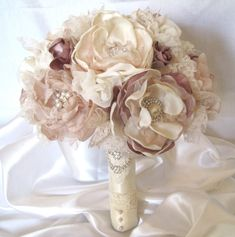 Wedding Bouquet Fabric Flower Vintage Inspired Brooch Bouquet in Ivory Champagne and Dusty Rose with Pearls Rhinestones and Lace Custom Made on Etsy, $315.00