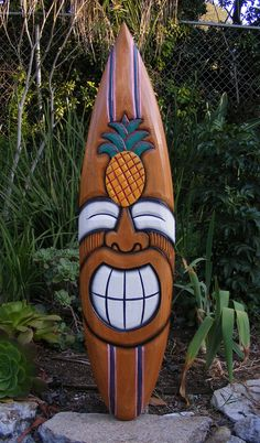 "Happy Tiki Pineapple Tropical Wood Surfboard Sign Wall Plaque Tiki Bar 38""...beach house"
