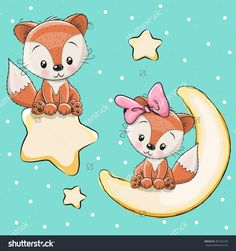 Valentine card with Lovers foxes on a moon and star