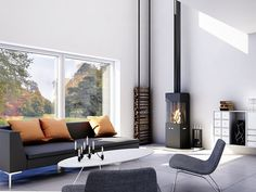 Rias Q 20 wood burning stove Wood Fireplace, Modern Fireplace, Indoor Firewood Rack, Contemporary Fireplace Designs, Living Room Decor, Living Spaces, Living Room Accessories, New Room, Stove