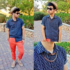 Old Navy Printed Shirt, Asos Coral Trousers