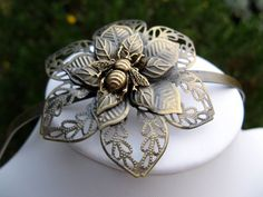 Bronze Filigree Metal Headband - Flower and Bee Headband - Steampunk Victorian Elegance. $24.00, via Etsy.