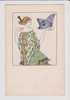 Maria Likarz (Austrian, 1893–1971). Girl with butterfly. Postcard - Wiener Werkstätte no. 714.