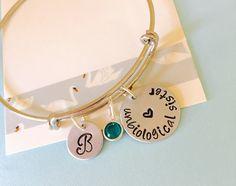 Unbiological Sister, Best Friend Bracelet, Silver, Hand Stamped Bracelet, Personalized Bracelet, Silver Bangle