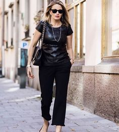 @carolinagynning in Ellos collection leather top & black pants from #Hunkydory (the latter found in our big MID SEASON SALE) #elloswomen