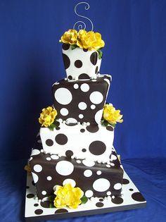 black and white polka dot cake