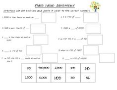 Math Cut-Out for and 10 times as much Place Value With Decimals, Place Values, 5th Grades, Students, Activities, Times, Math, Fifth Grade, Math Resources
