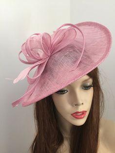 Fascinator Hat Pale Girly Pink Pastel Saucer by TwistFashion
