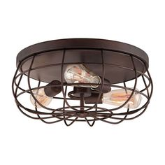Neo-Industrial Rubbed Bronze Three Light Flush Mount Fixture Ceiling Lamp