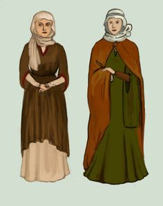 Anna - Women from Norman Conquest Britain around 1,000 CE. English women cover their hair with a wimple, which can be tied around the head with with a piece of silk.