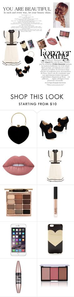 """""""Black and White"""" by vivi-603 on Polyvore featuring Lime Crime, self-portrait, Stila, NARS Cosmetics, J.Crew and Maybelline"""