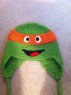 Crochet Teenage Mutant Ninja Turtle Earflap Beanie Hat - Picture Idea