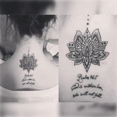 "Rachel Sedona on Instagram: ""My latest #ink A Lotus flower with Psalm 46:5 ""God within her, she will not fall"" #girlswithink #tattoo #napetattoo #lotus #lotusflower #psalm465 #bibleverse #bible #blackandwhite #neck #back #instadaily #happy #lovelife #love #Godiswithinher #shewillnotfall #september #fitmom #fitfam"""