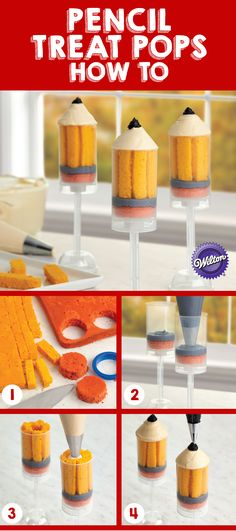 Wilton Pencil Treat Pops  #wilton #cake #cakedecorating #dessert #backtoschool
