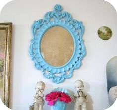 like this blue color too for the frame. the kids on the mantle are creepy though