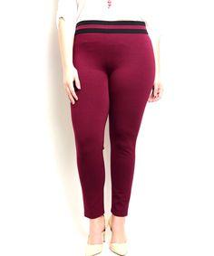 Plus+Size+Stripe+Skinny+Leg+Pant