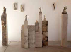 "Jane Rosen - ""Morandi Installation,"" 2012 Blown glass, limestone, and pigment 72 x 220 x 24 Store Interiors, Glass Birds, Land Art, Dream Decor, Installation Art, Sculpture Art, Sculpture Stand, New Art, Display"