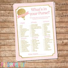 Pink and Gold Hot Air Balloon Baby Shower Game by PicsandPaper