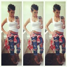 Shredded jeans, flannel, pixie cut