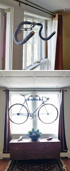 A round-up of the best bike storage we could find with many tutorials! Including from & wilson& this DIY wall bike rack that actually uses old handlebars as hooks! Diy Bike Rack, Bike Hanger, Bike Storage Rack, Garage Storage, Art Storage, Storage Ideas, Indoor Bike Storage, Indoor Bike Rack, Bicycle Rack
