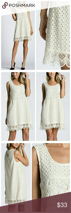 HP Ivory Lace Sleeveless Dress Ivory lace dress, fully lined but lightweight, you will want to wear a cami. Slips overhead, keyhole button close. EVIEcarche Dresses