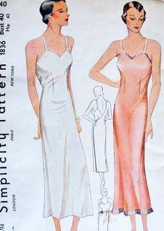 1930s Bias Cut Wrap Around Slip Pattern Simplicity 1836 Shadow Proof Slip Wear As Slip Dress Bust 40 Vintage Sewing Pattern FACTORY FOLDED