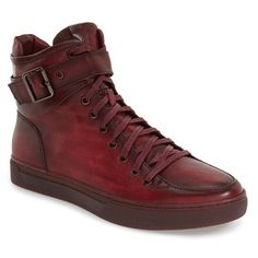 Men's Jump 'sullivan' High Top Sneaker (605 BRL) ❤ liked on Polyvore featuring men's fashion, men's shoes, men's sneakers, burgundy leather, mens high top sneakers, mens hi tops, mens black leather high top sneakers, mens high tops and mens high top shoes