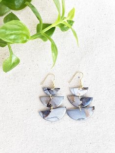 Gray/Gold Chandelier Alcohol Ink Earrings - Hand Crafted - Gold Plated - Modern - Geometric - Unique -Statement Earrings-Jenn Robertson Art Alcohol Ink Jewelry, Statement Earrings, Stud Earrings, Grey And Gold, Gray, Gold Chandelier, Etsy Crafts, Plating, Hand Painted