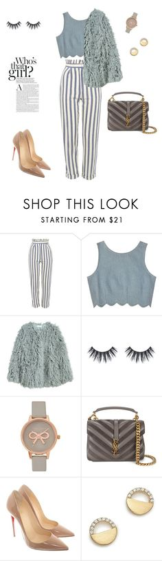 """""""Winter Crop"""" by laura-uzan ❤ liked on Polyvore featuring Topshop, Samantha Pleet, Olivia Burton, Yves Saint Laurent, Christian Louboutin and Bloomingdale's"""
