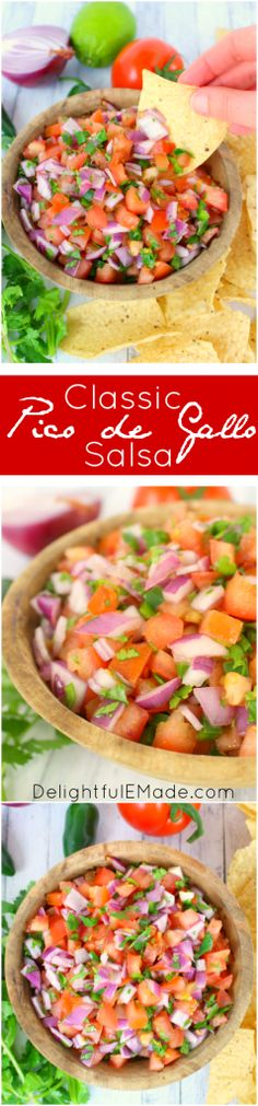 A must-have condiment for any Tex-Mex meal! This fresh, delicious Pico de Gallo Salsa is perfect for burritos, nachos, enchiladas, tacos, or anytime you want to enjoy chips and salsa! Forget the store-bought stuff, making a fresh batch is super simple and tastes way better!
