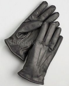 Men's Wool Lined Black Leather Dress Gloves Mitten Gloves, Mittens, Sheepskin Gloves, Dress Gloves, Stay Warm, Black Leather, Wool, Dresses, Fashion