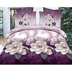 vier stuk 3d paarse bloemenprint dekbed set - EUR € 33.93