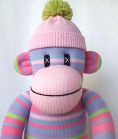 Make a sock monkey with pastel socks.