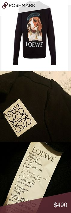 Loewe Dog Oversized Sweatshirt Black AW17 *Sold out in stores* Originally for men but it could be worn for women.  Size small but oversized fit.  Cute with shorts. 100% cotton Loewe Tops Sweatshirts & Hoodies