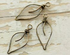 3 Leaves Antiqued Solid Brass Wire, Small - Handmade Wirework Connector, Charm, or Pendant