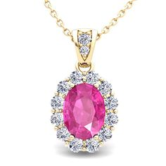 Diamond and Oval Pink Sapphire Necklace in 18k Yellow or White Gold, 8x6mm.