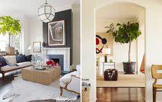 house beautiful, gray fireplace wall, hide, fiddle leaf fig, jute rug, hide ottoman