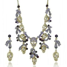 "Ever Faith Halloween Skull Snake Animal Purple Austrian Crystal Necklace Earring Set Ever Faith. $28.95. It is good for your personal jewelry collection.. Chain Size: 18.90"" inside circumference length Pendant Size: 7.48"" by 2.76"" Earring Size: 2.09"" by 0.55"". High quality and good handcraft"